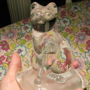 Cristal D'Arques France Lead Crystal Sitting Cat